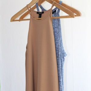 Forever21 Low Shoulder Cut Tan Dress
